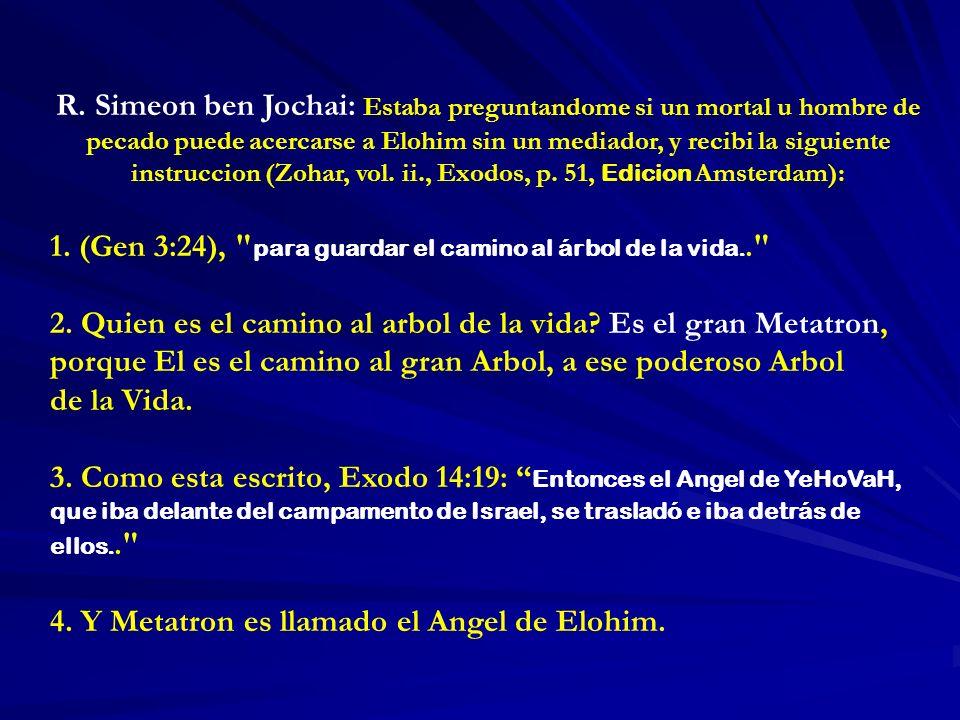 R. Simeon ben Jochai: Estaba preguntandome si un mortal u hombre de pecado puede acercarse a Elohim sin un mediador, y recibi la siguiente instruccion