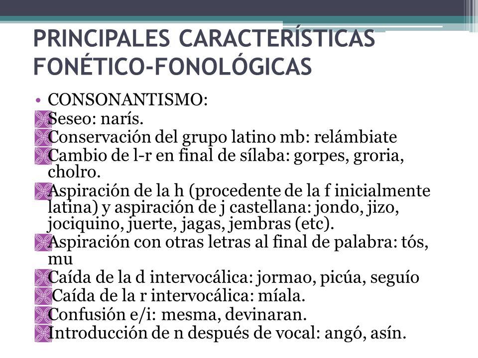 PRINCIPALES CARACTERÍSTICAS FONÉTICO-FONOLÓGICAS CONSONANTISMO: Seseo: narís. Conservación del grupo latino mb: relámbiate Cambio de l-r en final de s