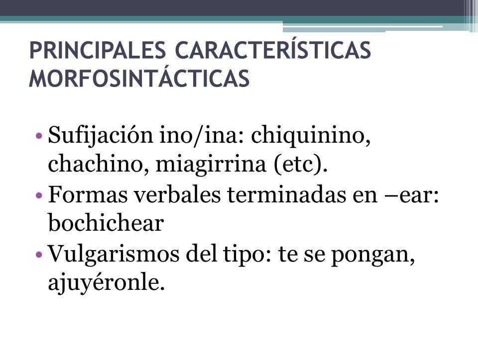 PRINCIPALES CARACTERÍSTICAS MORFOSINTÁCTICAS Sufijación ino/ina: chiquinino, chachino, miagirrina (etc). Formas verbales terminadas en –ear: bochichea