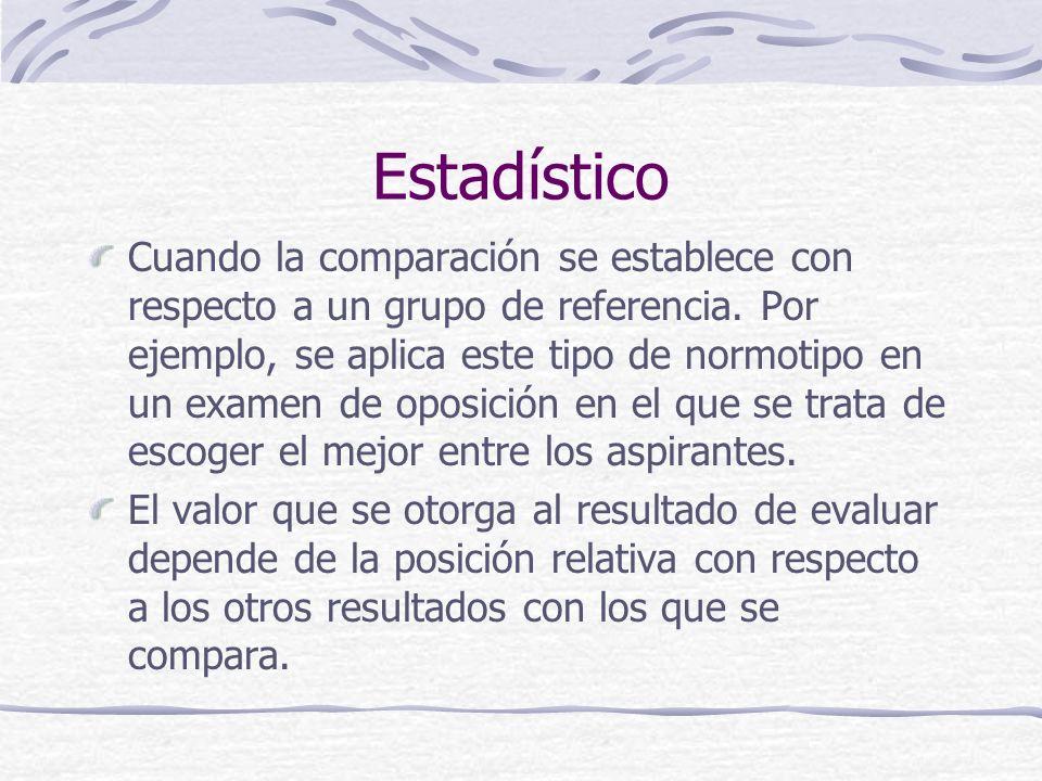 Evaluar es: Emitir un juicio sobre la base de una comparación, para tomar decisiones. Referentes o normotipos: Estadístico De criterio Individualizado