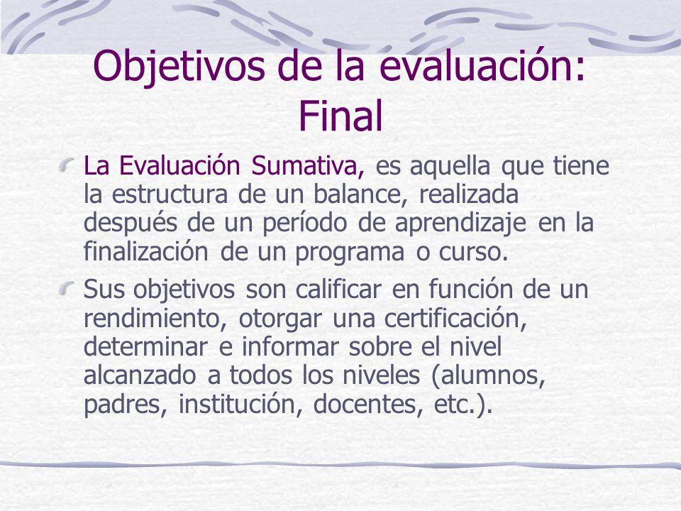 Objetivos de la evaluación: Formativa La Evaluación Formativa, es aquella que se realiza al finalizar cada tarea de aprendizaje y tiene por objetivo i