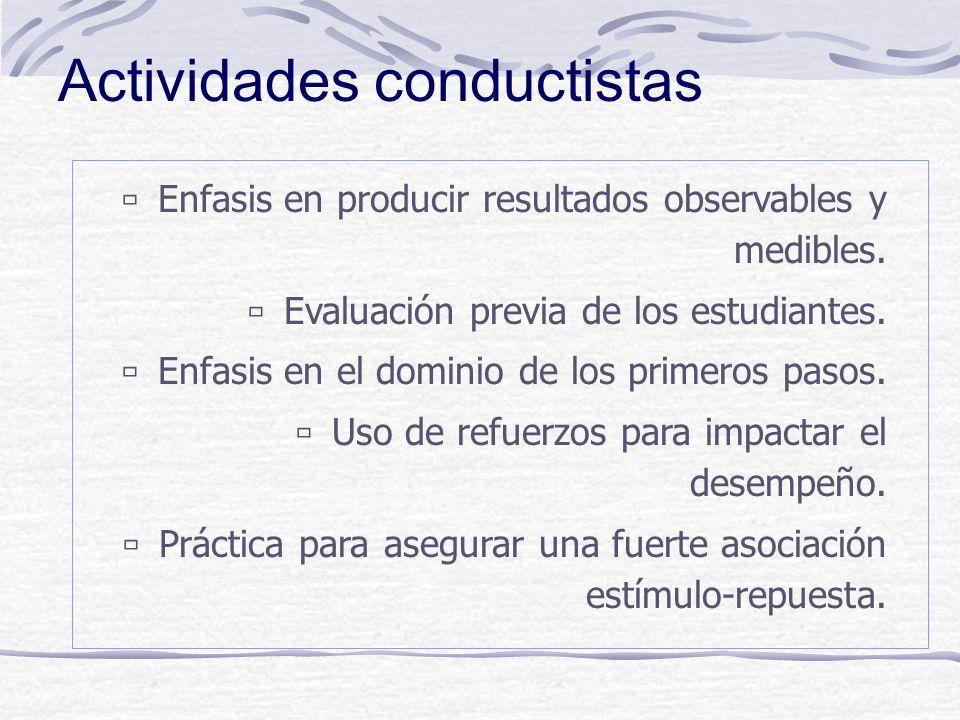 Conductismo: principios Conductismo: principios Aprendizaje: cambios observables y esperados de conducta. Se logra cuando se exhibe una respuesta apro