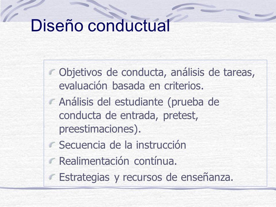 ù Enfasis en producir resultados observables y medibles. ù Evaluación previa de los estudiantes. ù Enfasis en el dominio de los primeros pasos. ù Uso