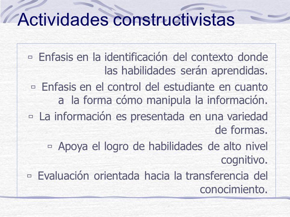 Costructivismo: principios Aprendizaje: Creación de significados a partir de la experiencia. Se logra cuando se crean comprensiones novedosas que se a