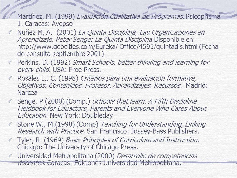 Recomendaciones bibliográficas Alves, E. Y Acevedo, R. (1999) La evaluación cualitativa, Relexió para la Transformación de la Realidad Educativa. Vale
