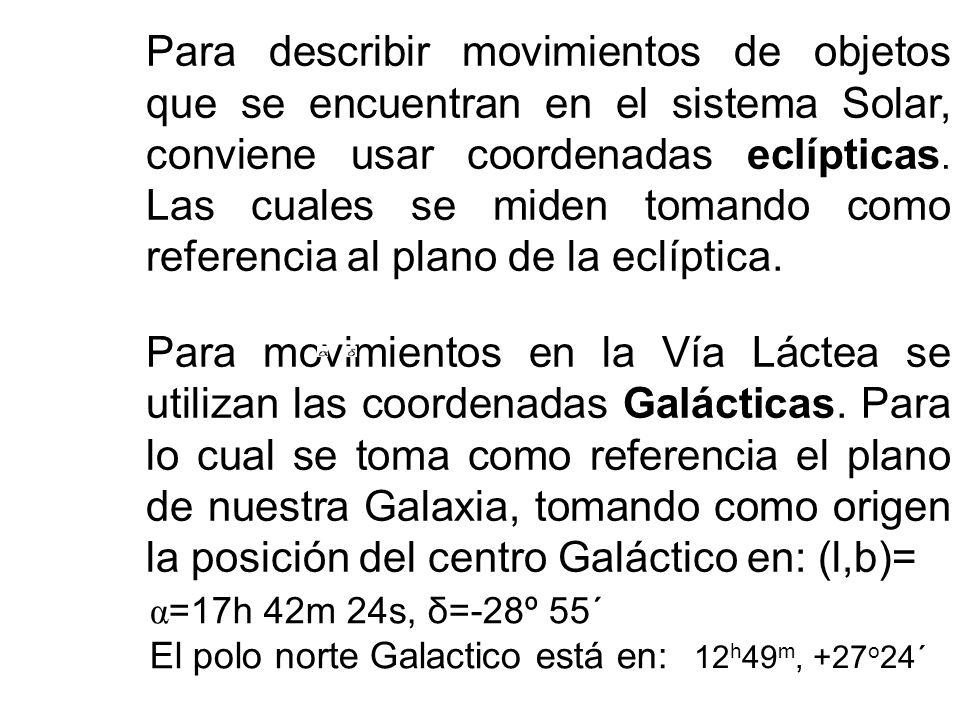 Ascención Recta ( α): Similar a la longitud geográfica. Pero se mide en unidades de tiempo en horas, minutos y segundos a lo largo del ecuador celeste
