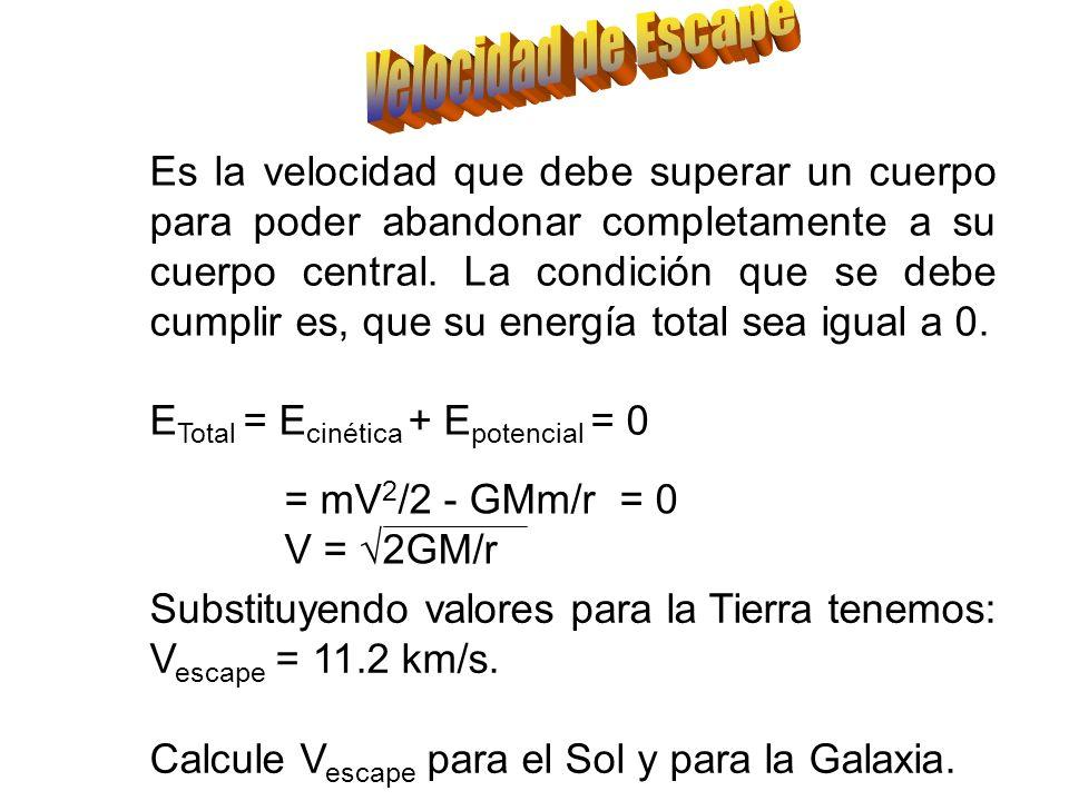 Otro ejemplo útil es el de los satélites geoestacionarios, para los que P = 1 día. Sabiendo que M Tierra = 5.974x10 27 gr. ¿A que altura deben orbitar