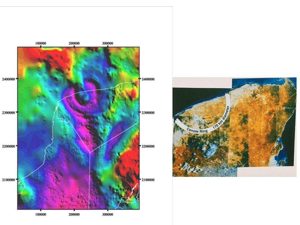 Localización: 21.3°N 89.6°W al norte de la Península de Yucatán Diámetro: ~250-280 km Edad: 64.98 ± 0.05 millones de años LPI, NASA