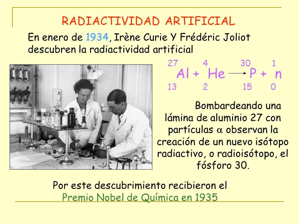 RADIACTIVIDAD ARTIFICIAL Bombardeando una lámina de aluminio 27 con partículas observan la creación de un nuevo isótopo radiactivo, o radioisótopo, el