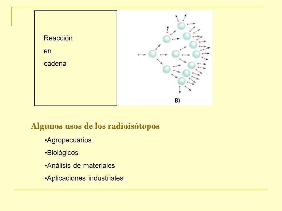 Reacción en cadena Algunos usos de los radioisótopos Agropecuarios Biológicos Análisis de materiales Aplicaciones industriales