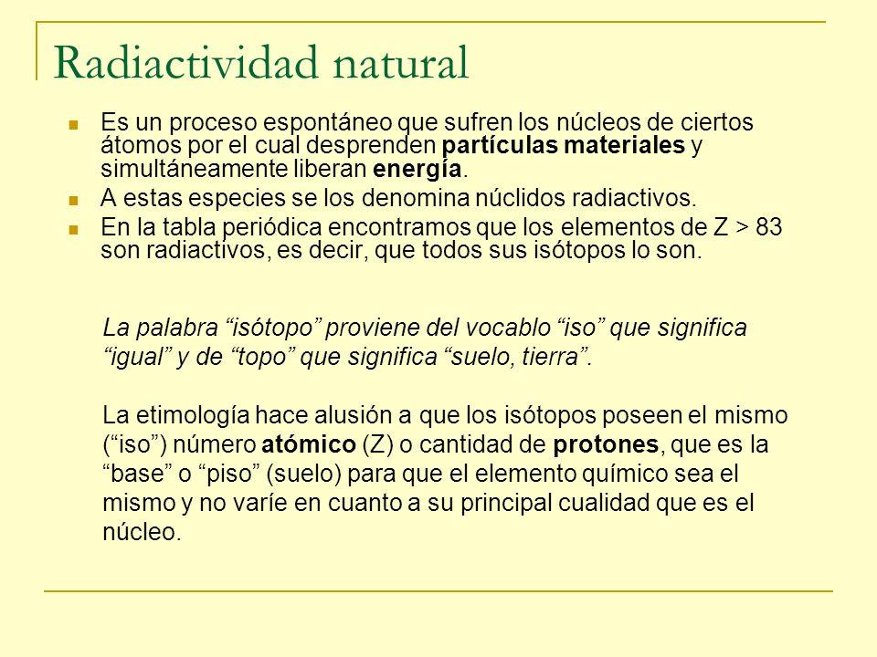 Radiactividad natural Es un proceso espontáneo que sufren los núcleos de ciertos átomos por el cual desprenden partículas materiales y simultáneamente