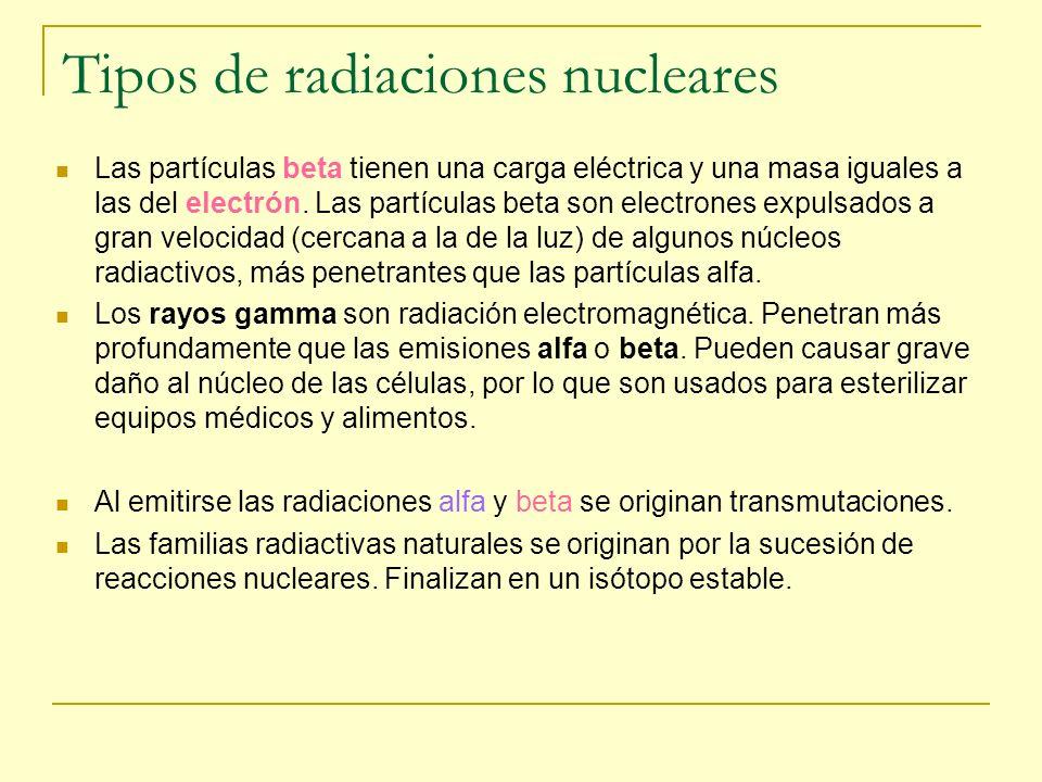 Tipos de radiaciones nucleares Las partículas beta tienen una carga eléctrica y una masa iguales a las del electrón. Las partículas beta son electrone