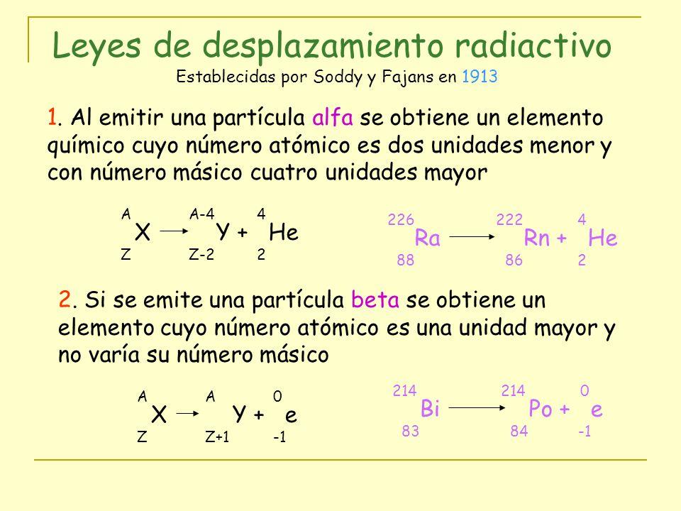 Leyes de desplazamiento radiactivo Establecidas por Soddy y Fajans en 1913 1. Al emitir una partícula alfa se obtiene un elemento químico cuyo número