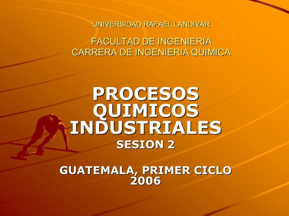 UNIVERSIDAD RAFAEL LANDIVAR FACULTAD DE INGENIERIA CARRERA DE INGENIERIA QUIMICA PROCESOS QUIMICOS INDUSTRIALES SESION 2 GUATEMALA, PRIMER CICLO 2006
