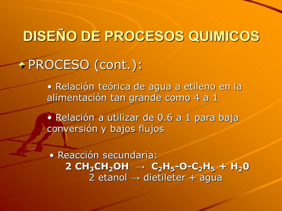 DISEÑO DE PROCESOS QUIMICOS PROCESO (cont): Proceso basado en el uso de alta temperatura (535 ºK to 575 ºK) y alta presión (alrededor de 69 bar) en un reactor no-catalítico homogéneo Proceso basado en el uso de alta temperatura (535 ºK to 575 ºK) y alta presión (alrededor de 69 bar) en un reactor no-catalítico homogéneo Mantener la fracción molar del metano en la alimentación menor al 10% para prevenir coking Mantener la fracción molar del metano en la alimentación menor al 10% para prevenir coking El exceso de agua en el reactor sirve para: favorecer la primera reacción y amortiguar la segunda reacción El exceso de agua en el reactor sirve para: favorecer la primera reacción y amortiguar la segunda reacción