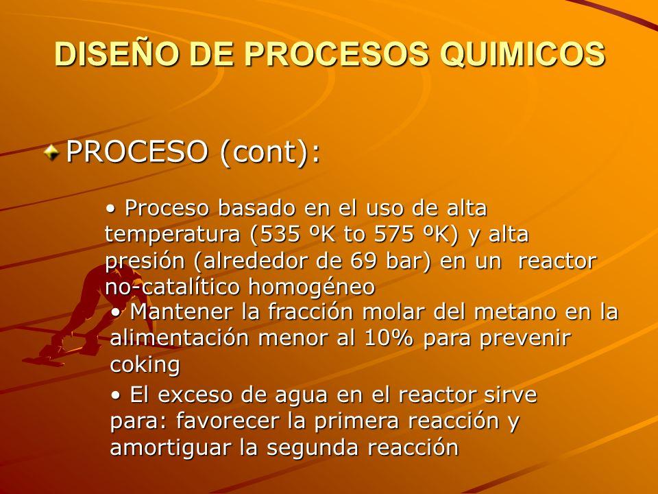 DISEÑO DE PROCESOS QUIMICOS PROCESO (cont): El proceso produce trazas de un aldehído de cuatro carbonos, croton aldehído, considerado desecho El proceso produce trazas de un aldehído de cuatro carbonos, croton aldehído, considerado desecho El propileno presente en la alimentación reacciona con el agua para formar isopropano El propileno presente en la alimentación reacciona con el agua para formar isopropano La conversion a isopropano es alrededor del 10% de la de etileno La conversion a isopropano es alrededor del 10% de la de etileno