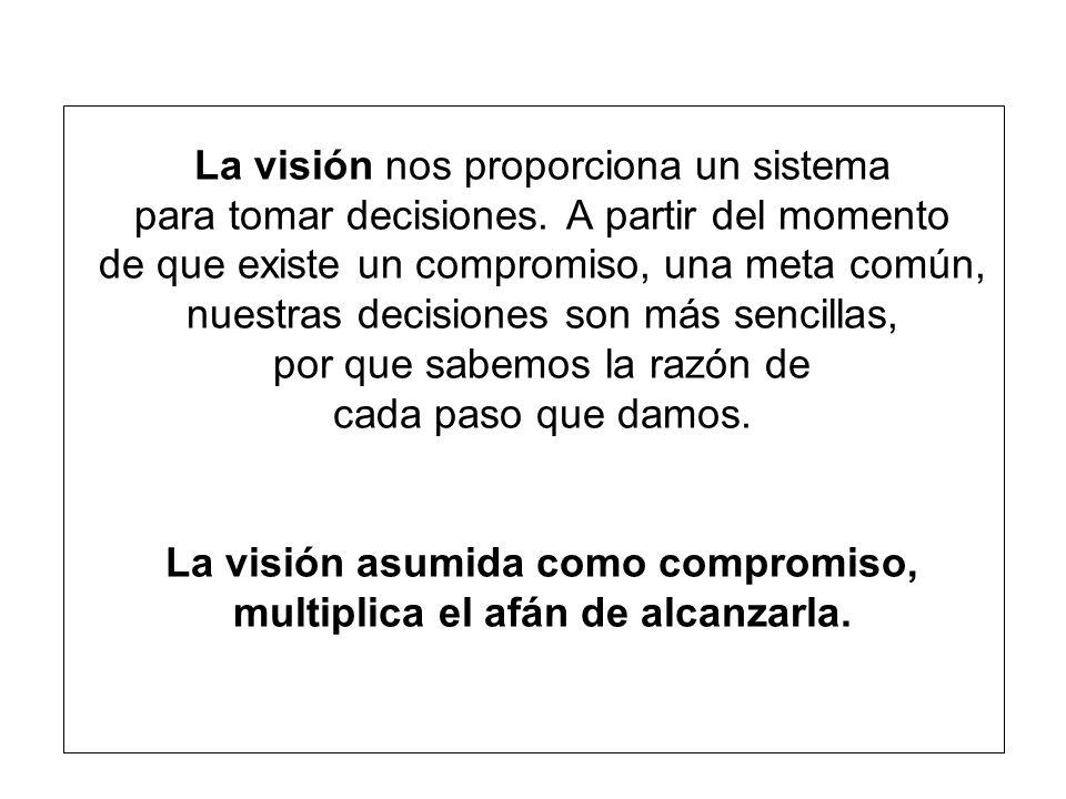 La visión nos proporciona un sistema para tomar decisiones.
