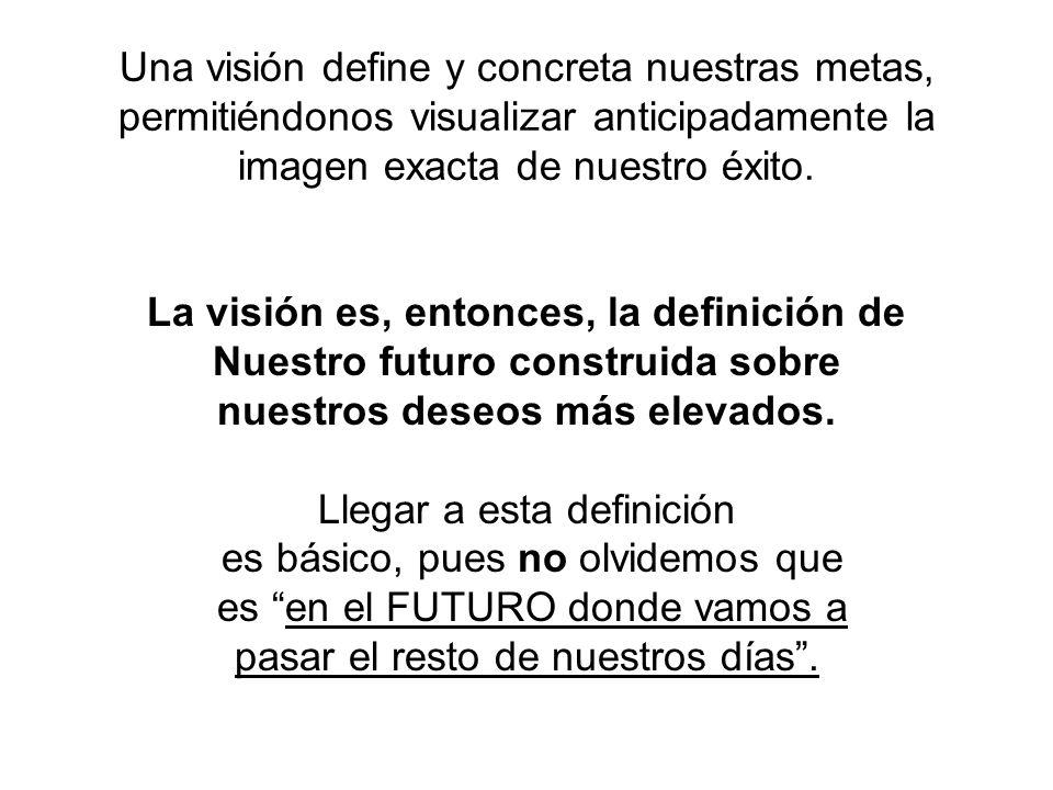 Una visión define y concreta nuestras metas, permitiéndonos visualizar anticipadamente la imagen exacta de nuestro éxito.