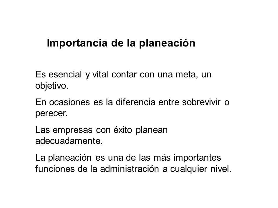 Importancia de la planeación Es esencial y vital contar con una meta, un objetivo.