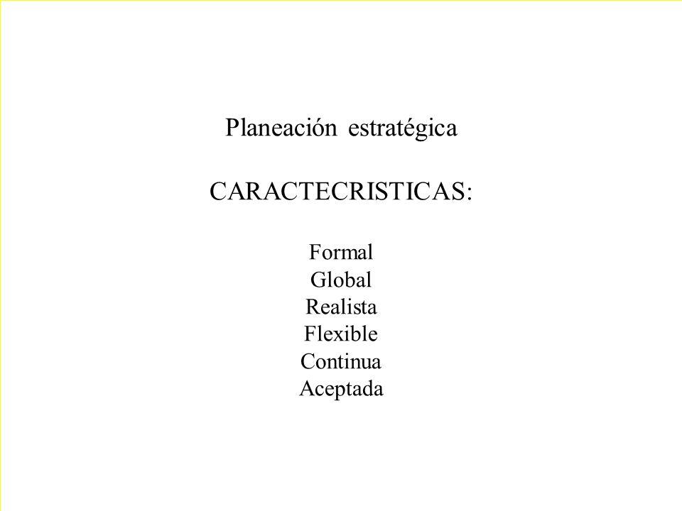 Planeación estratégica CARACTECRISTICAS: Formal Global Realista Flexible Continua Aceptada