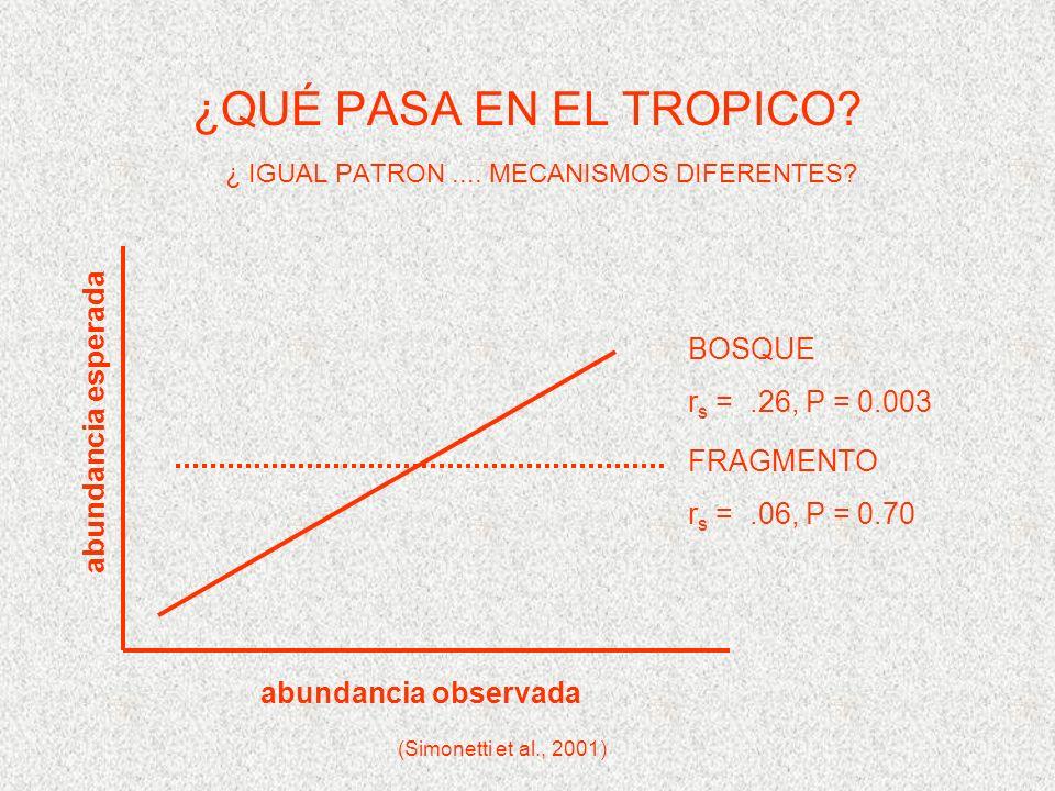 ¿QUÉ PASA EN EL TROPICO. ¿ IGUAL PATRON.... MECANISMOS DIFERENTES.