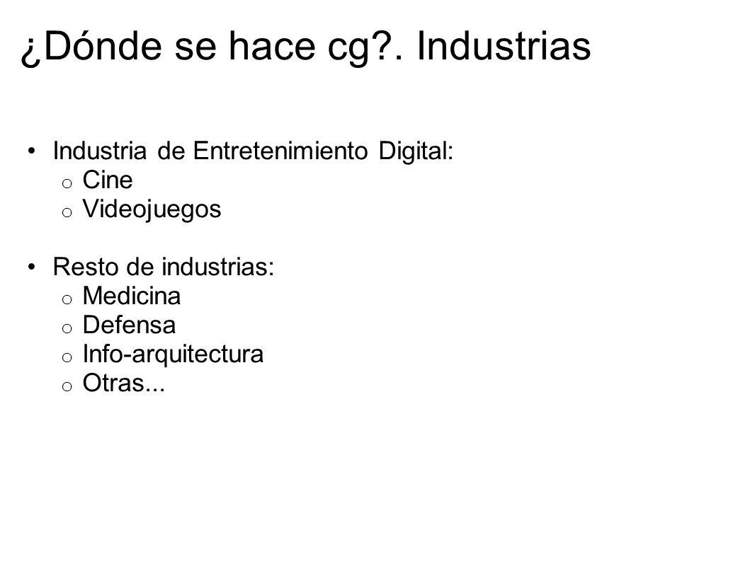 ¿Dónde se hace cg?. Industrias Industria de Entretenimiento Digital: o Cine o Videojuegos Resto de industrias: o Medicina o Defensa o Info-arquitectur