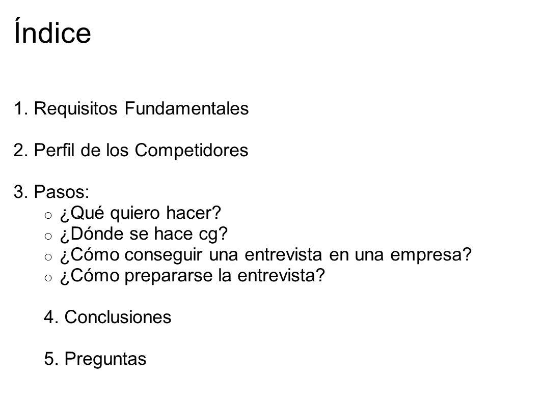 Índice 1.Requisitos Fundamentales 2. Perfil de los Competidores 3.