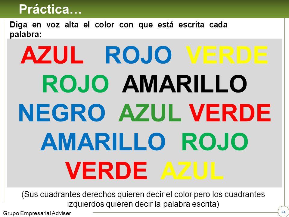 22 Grupo Empresarial Adviser ROLES DE CUADRANTE Seres Verdes Seres amarillo Seres Azules Seres Rojos DIRECTOR SOCIALIZADOR PENSADORRELACIONISTA CONVICCIÓN ESTILO CALIDEZ PRECISIÓN INDIRECTO DIRECTO RESERVADO ABIERTO Sus prioridades son los resultados y el reconocimiento Sus prioridades son el conocimiento y el afecto