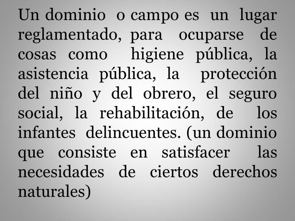 Un dominio o campo es un lugar reglamentado, para ocuparse de cosas como higiene pública, la asistencia pública, la protección del niño y del obrero, el seguro social, la rehabilitación, de los infantes delincuentes.