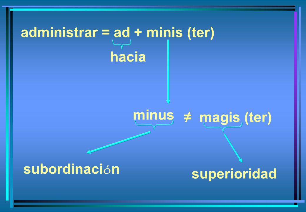 administrar = ad + minis (ter) minus subordinaci ó n superioridad hacia magis (ter)