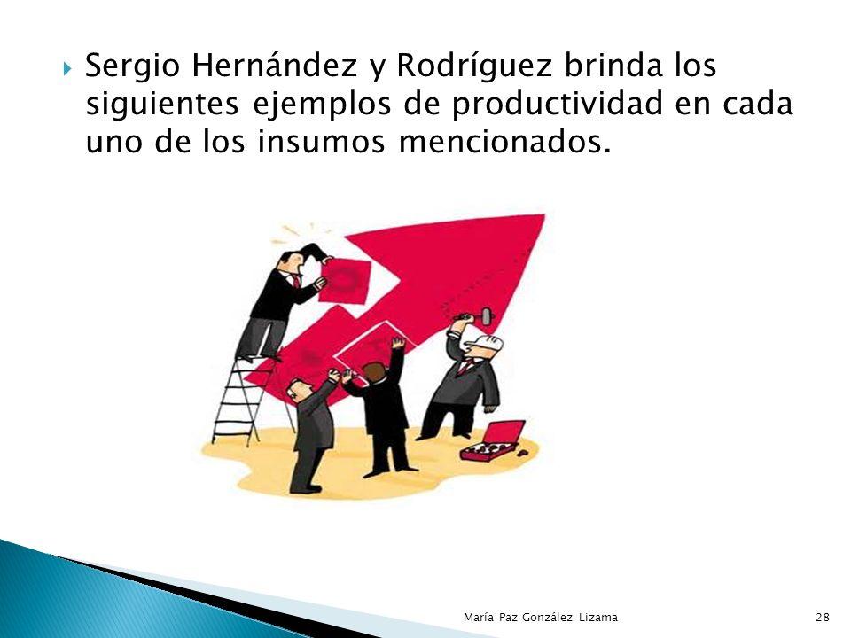Sergio Hernández y Rodríguez establece que la productividad puede medirse en relación con la totalidad de insumos empleados, o bien, con la de alguno