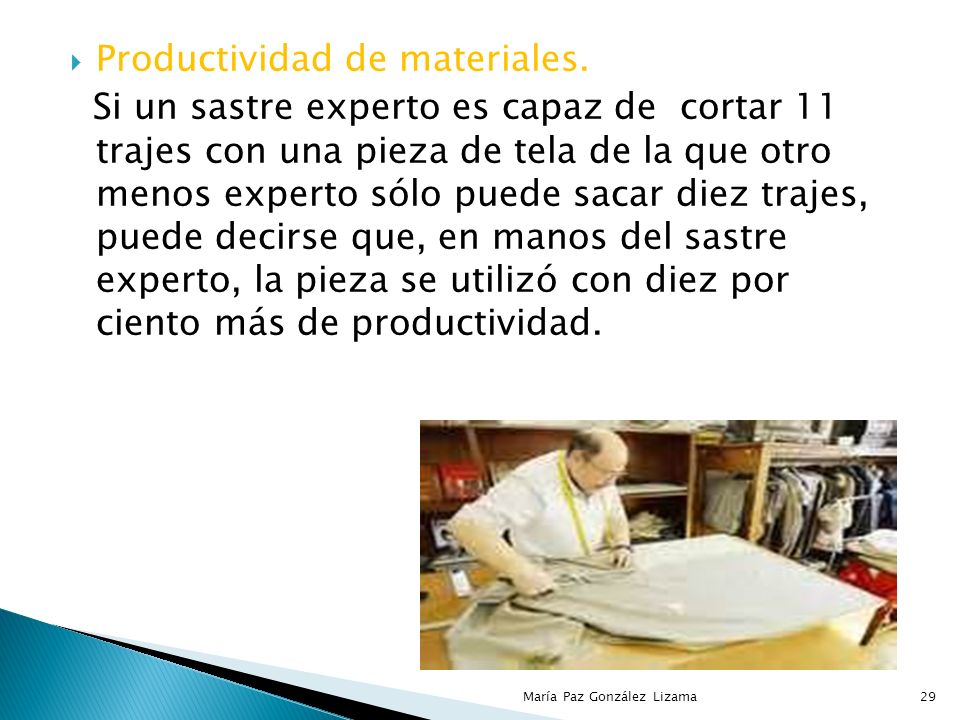 Sergio Hernández y Rodríguez brinda los siguientes ejemplos de productividad en cada uno de los insumos mencionados. 28María Paz González Lizama