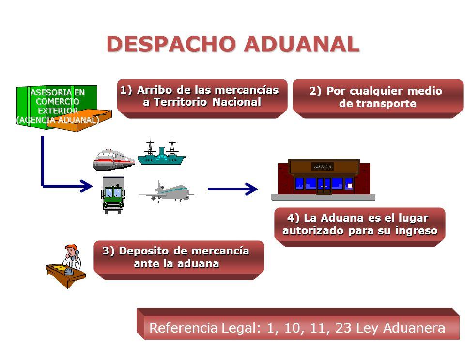 DESPACHO ADUANAL ADUANA 1)Arribo de las mercancías a Territorio Nacional Referencia Legal: 1, 10, 11, 23 Ley Aduanera ASESORIA EN COMERCIO EXTERIOR (AGENCIA ADUANAL) 2)Por cualquier medio de transporte 3) Deposito de mercancía ante la aduana 4) La Aduana es el lugar autorizado para su ingreso