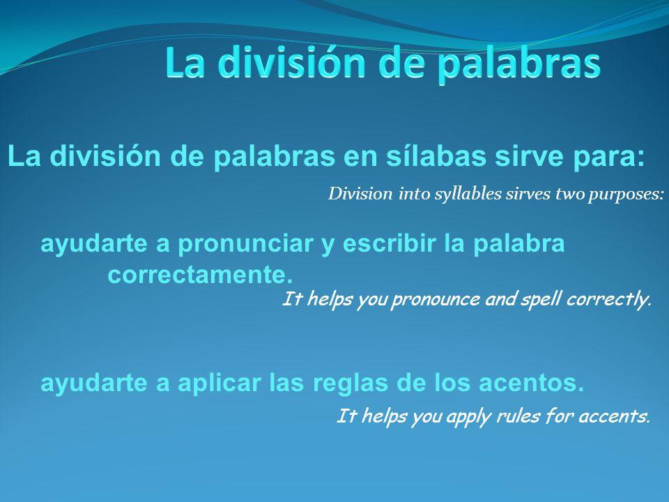 ayudarte a aplicar las reglas de los acentos. Division into syllables sirves two purposes: ayudarte a pronunciar y escribir la palabra correctamente.
