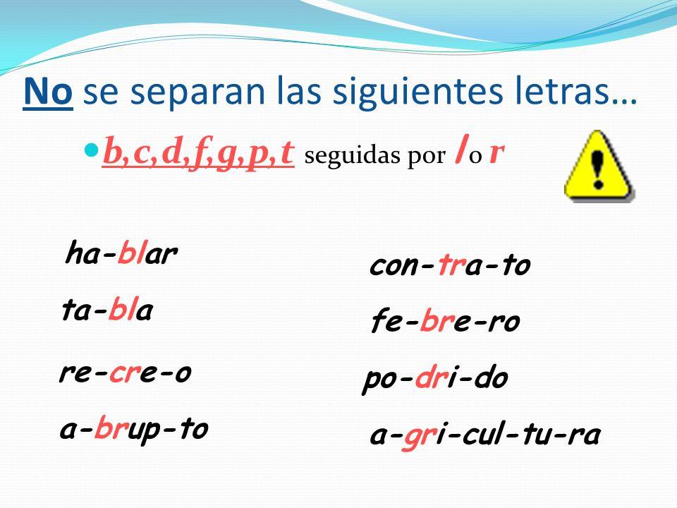 No se separan las siguientes letras… b,c,d,f,g,p,t seguidas por l o r ha-blar ta-bla re-cre-o a-brup-to con-tra-to fe-bre-ro po-dri-do a-gri-cul-tu-ra