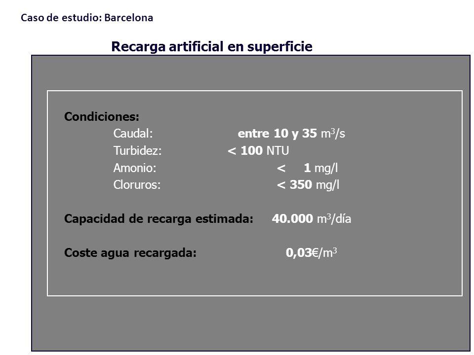 Condiciones: Caudal: entre 10 y 35 m 3 /s Turbidez: < 100 NTU Amonio: < 1 mg/l Cloruros: < 350 mg/l Capacidad de recarga estimada: 40.000 m 3 /día Cos