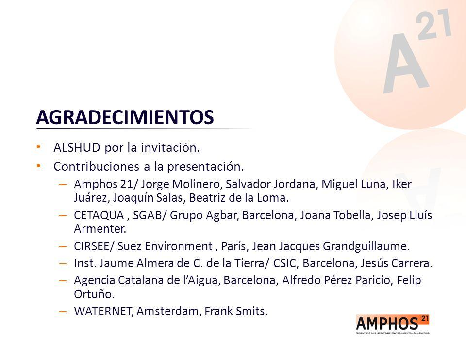AGRADECIMIENTOS ALSHUD por la invitación. Contribuciones a la presentación. – Amphos 21/ Jorge Molinero, Salvador Jordana, Miguel Luna, Iker Juárez, J