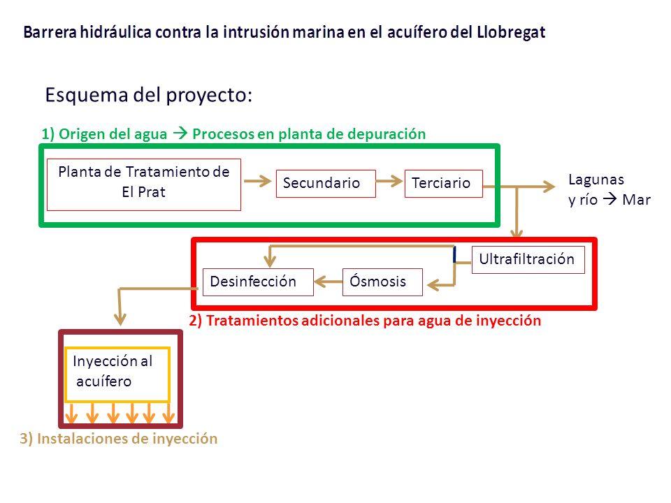 Planta de Tratamiento de El Prat SecundarioTerciario Lagunas y río Mar Ultrafiltración ÓsmosisDesinfección Inyección al acuífero Esquema del proyecto: