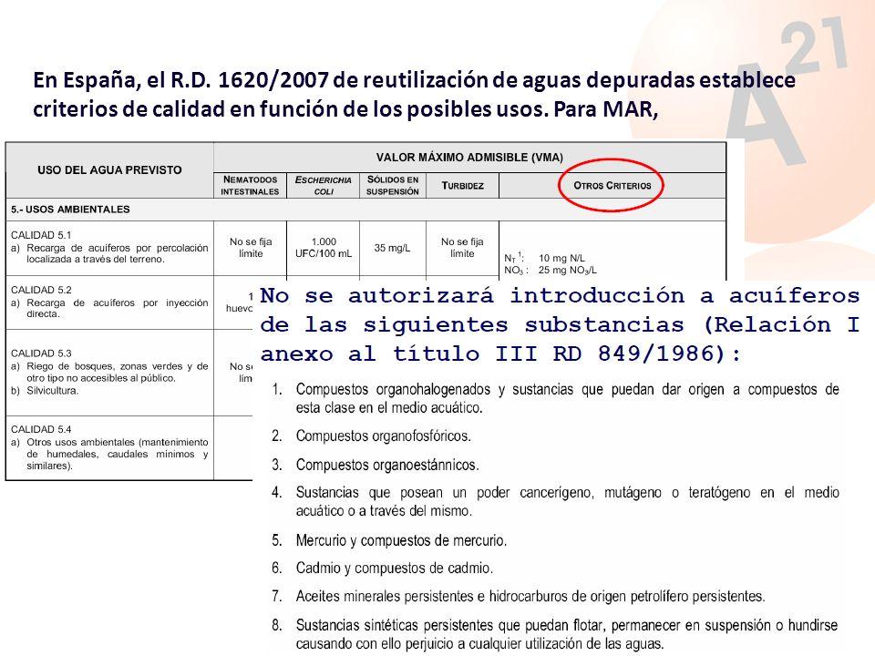 En España, el R.D. 1620/2007 de reutilización de aguas depuradas establece criterios de calidad en función de los posibles usos. Para MAR,