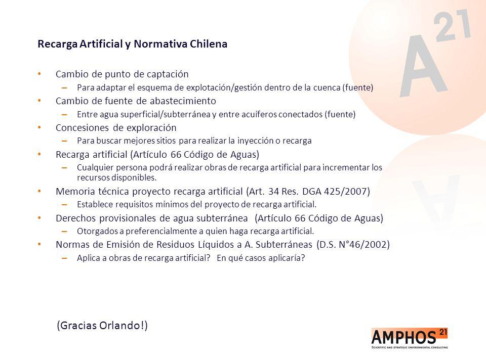 Recarga Artificial y Normativa Chilena Cambio de punto de captación – Para adaptar el esquema de explotación/gestión dentro de la cuenca (fuente) Camb