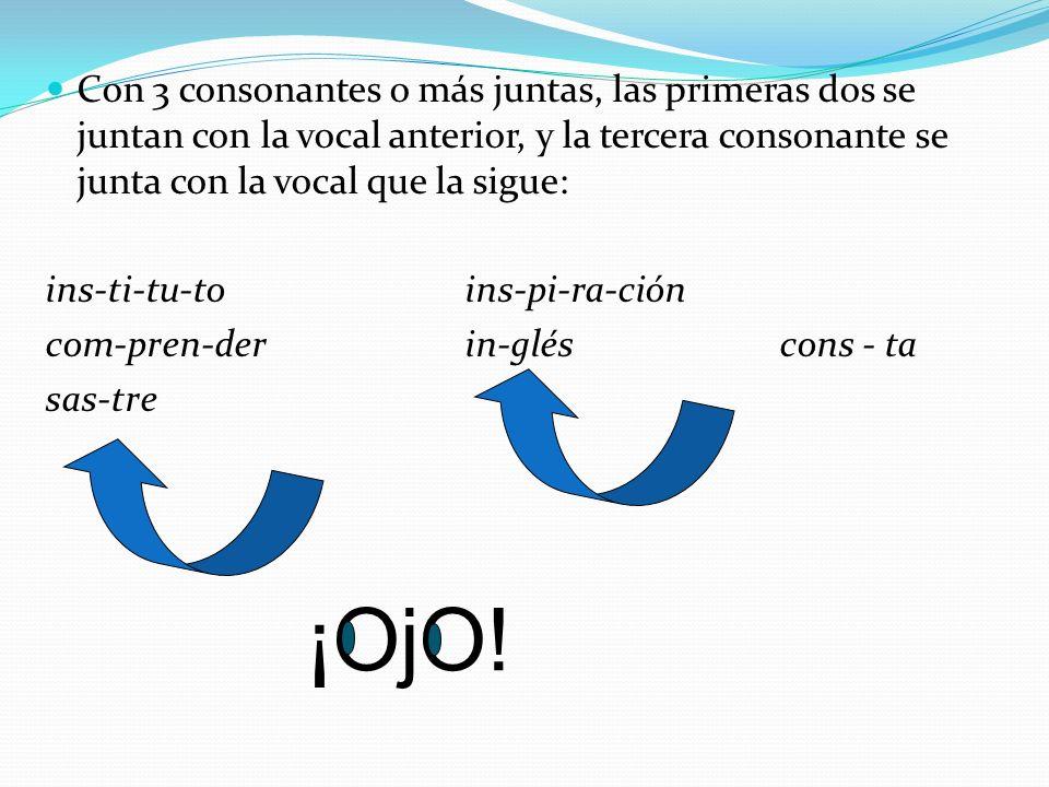 Con 3 consonantes o más juntas, las primeras dos se juntan con la vocal anterior, y la tercera consonante se junta con la vocal que la sigue: ins-ti-tu-toins-pi-ra-ción com-pren-derin-gléscons - ta sas-tre ¡OjO!