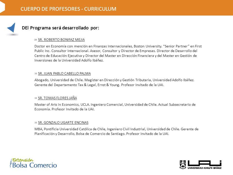 DEl Programa será desarrollado por: CUERPO DE PROFESORES - CURRICULUM SR.