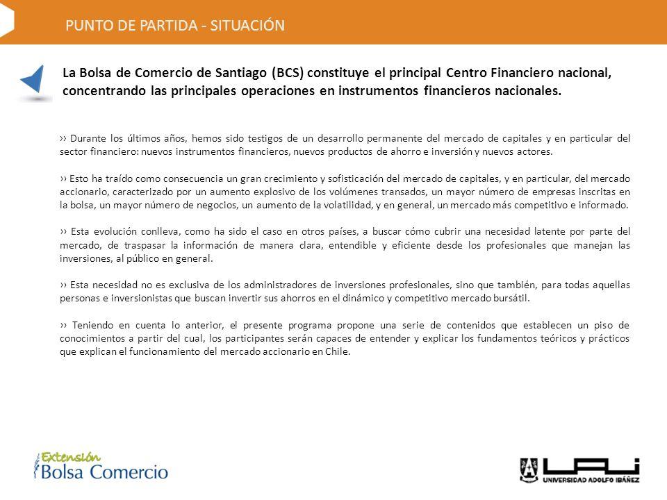 PUNTO DE PARTIDA - SITUACIÓN La Bolsa de Comercio de Santiago (BCS) constituye el principal Centro Financiero nacional, concentrando las principales operaciones en instrumentos financieros nacionales.