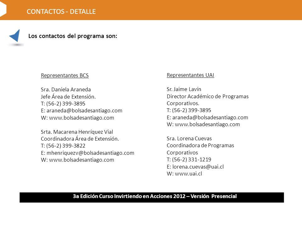 Los contactos del programa son: CONTACTOS - DETALLE Representantes BCS Sra.