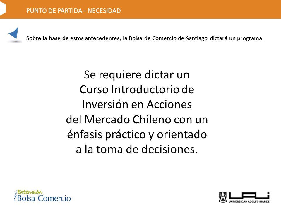 Sobre la base de estos antecedentes, la Bolsa de Comercio de Santiago dictará un programa.
