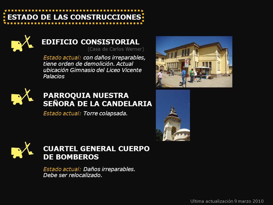 ESTADO DE LAS CONSTRUCCIONES EDIFICIO CONSISTORIAL Estado actual: con daños irreparables, tiene orden de demolición.