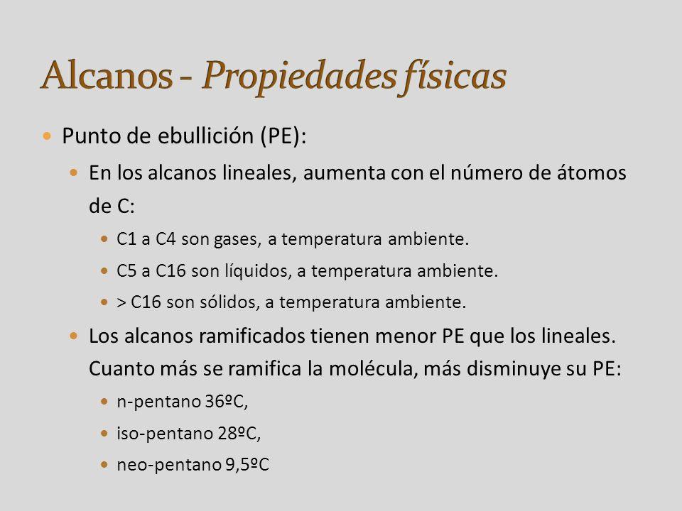 Punto de ebullición (PE): En los alcanos lineales, aumenta con el número de átomos de C: C1 a C4 son gases, a temperatura ambiente.