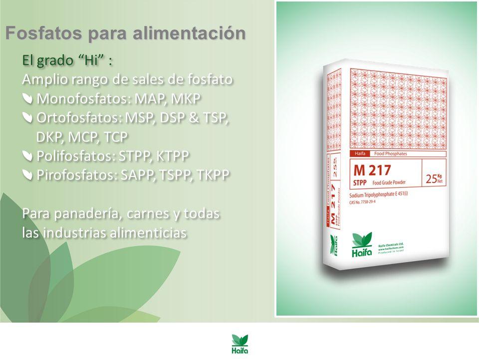 Fosfatos para alimentación El grado Hi : Amplio rango de sales de fosfato Monofosfatos: MAP, MKP Ortofosfatos: MSP, DSP & TSP, DKP, MCP, TCP Polifosfatos: STPP, KTPP Pirofosfatos: SAPP, TSPP, TKPP Para panadería, carnes y todas las industrias alimenticias El grado Hi : Amplio rango de sales de fosfato Monofosfatos: MAP, MKP Ortofosfatos: MSP, DSP & TSP, DKP, MCP, TCP Polifosfatos: STPP, KTPP Pirofosfatos: SAPP, TSPP, TKPP Para panadería, carnes y todas las industrias alimenticias