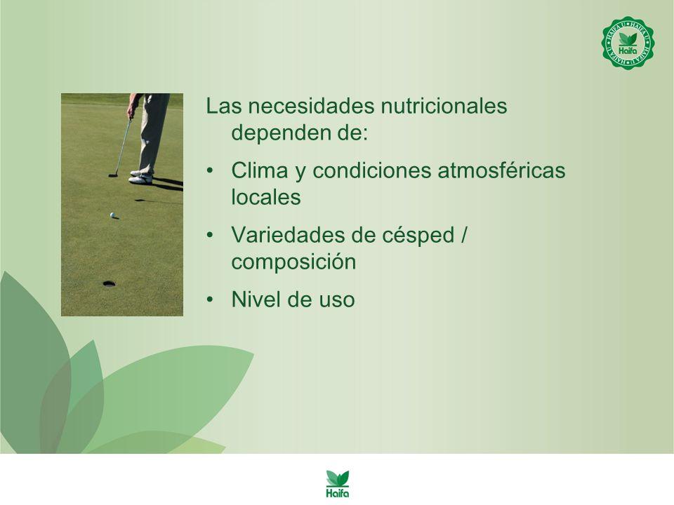 Las necesidades nutricionales dependen de: Clima y condiciones atmosféricas locales Variedades de césped / composición Nivel de uso
