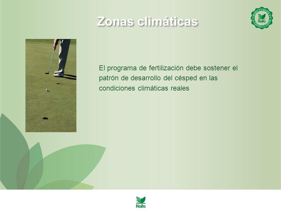 El programa de fertilización debe sostener el patrón de desarrollo del césped en las condiciones climáticas reales Zonas climáticas